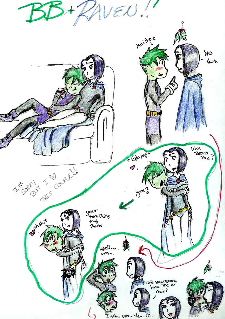 Viewing gallery for raven and beast boy kiss
