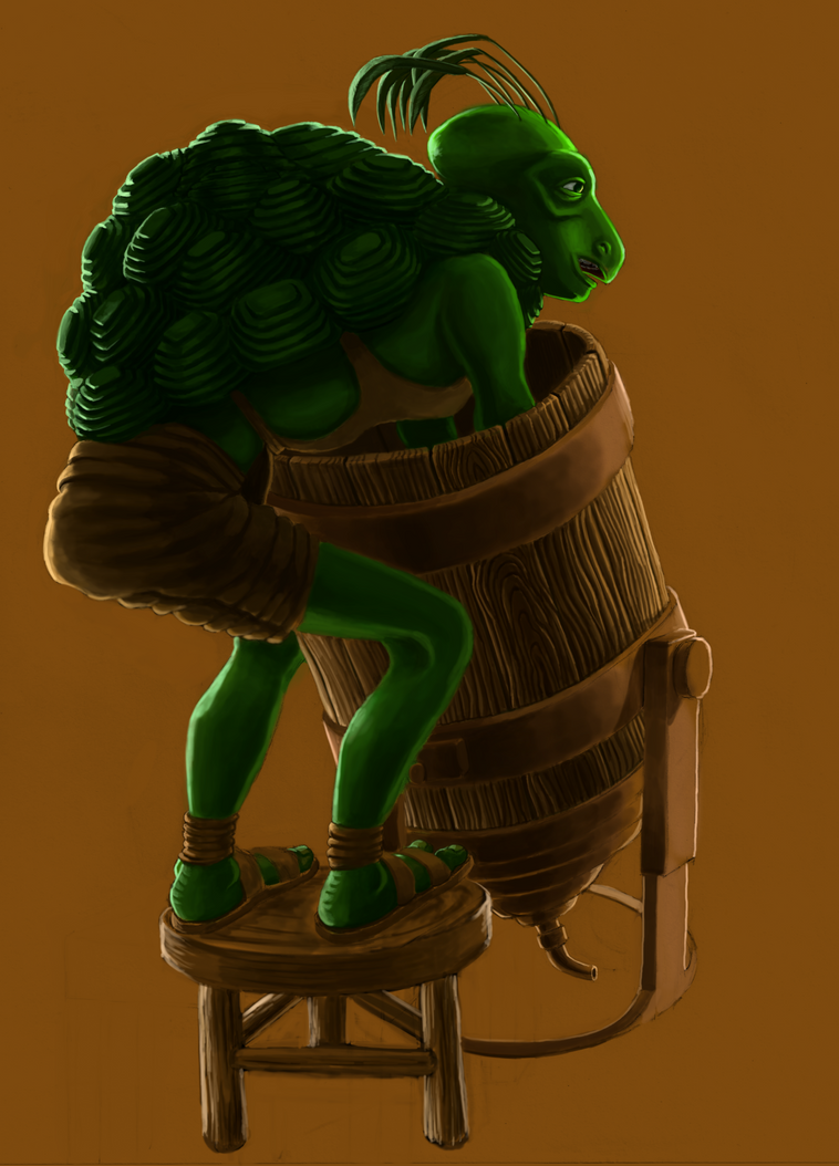 Tan Cleaning a Barrel by grimdrifter