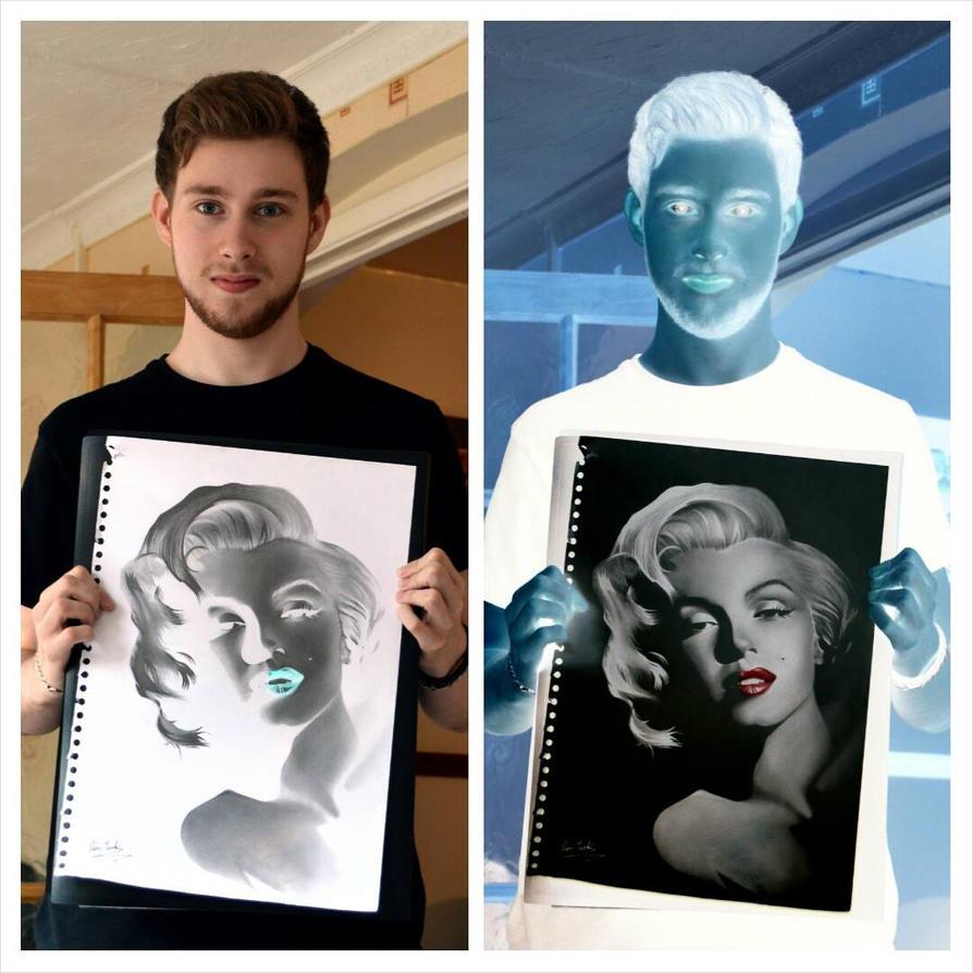 Marilyn Monroe Inverted Drawing by Liam J. York by MrYorkie