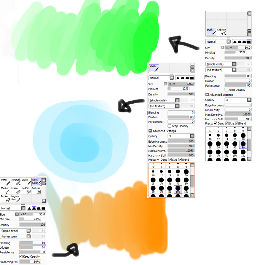Paint tool SAI brush settings by M42NGC1976
