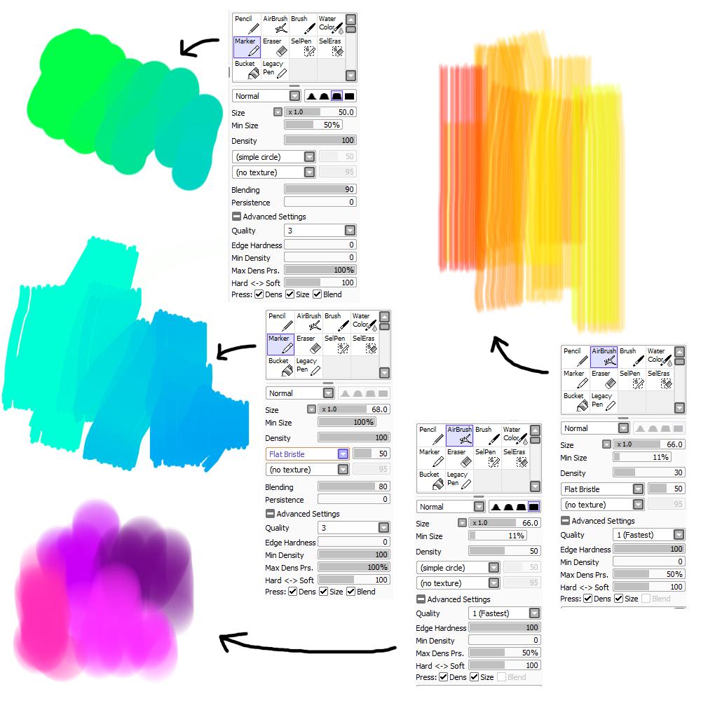 Brush settings for PaintTool SAI by M42NGC1976 on DeviantArt
