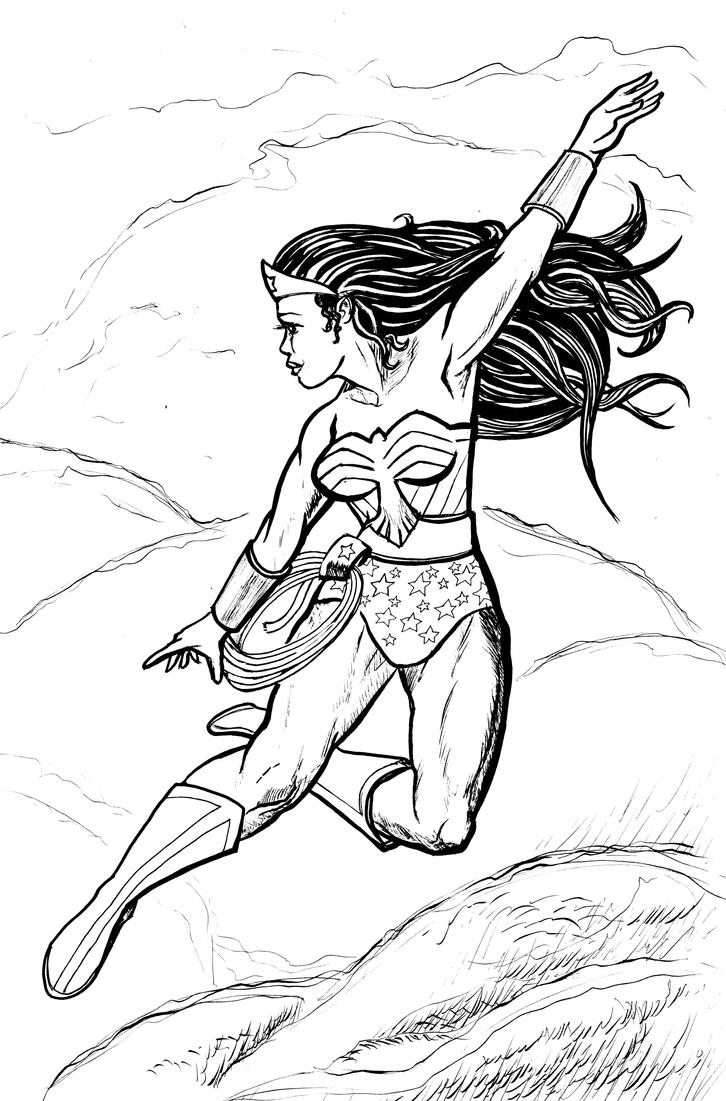 Wonder Woman flying