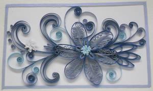 Quilling: Framed Blue Flower