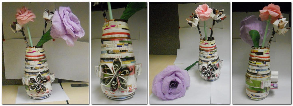 Magazine Vase With Paper Flowers By Staceysmile