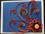 Quilled orange flower card