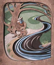 small gardener - reader - river