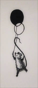 Mouse and balloons bookmark