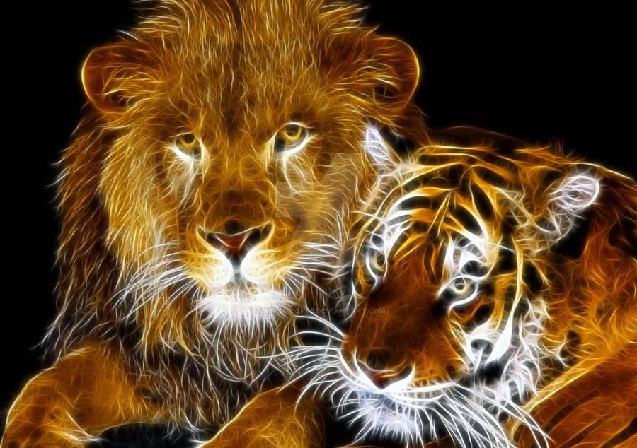 Amazing Fractal Light Lion And Tiger By Chrismccabe On