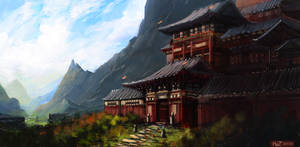 Asian Temple by HazPainting