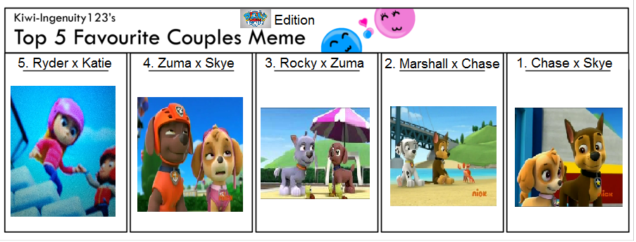 Top 5 Favorite Couples: PAW Patrol Edition by