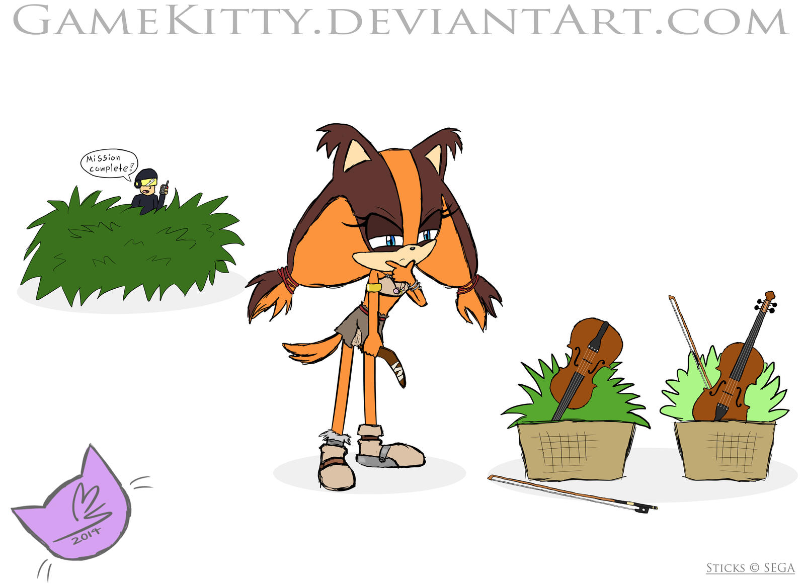 Sticks and her Violin plants by GameKitty