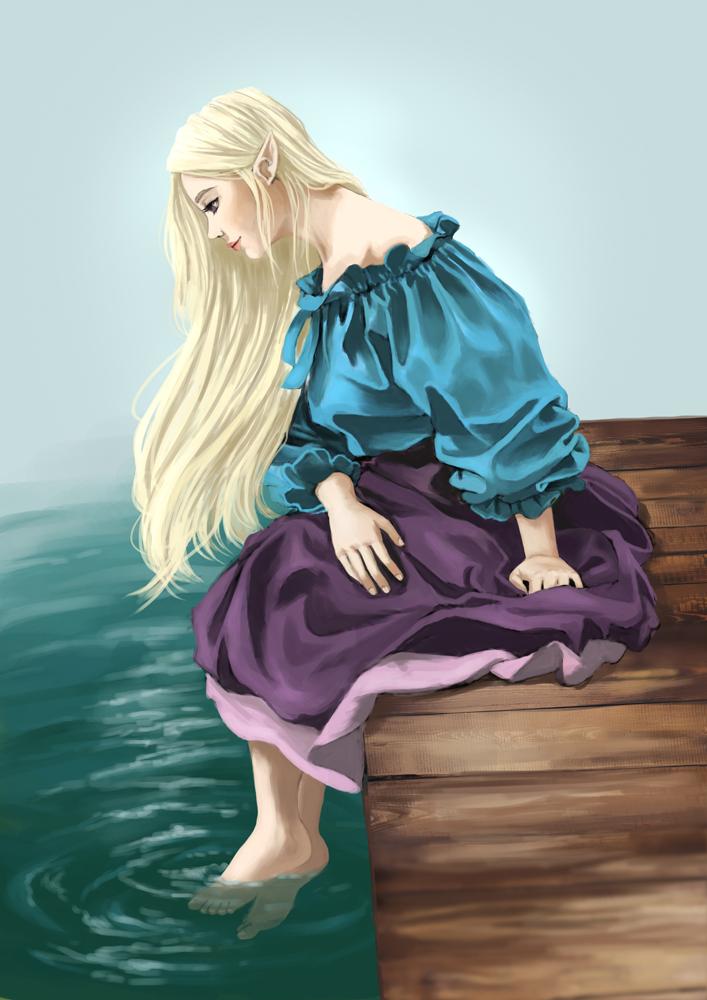 Elf Sitting On a Pier by Refielle