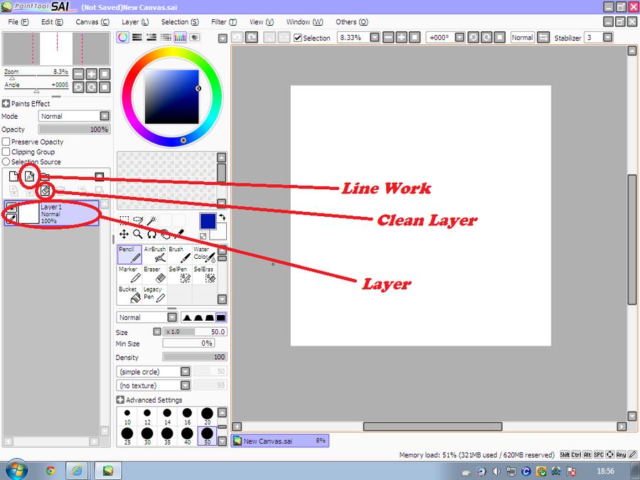 sai how to draw line