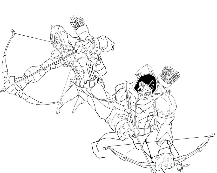 hawkeye and green arrow inks by merides - Green Arrow Coloring Pages