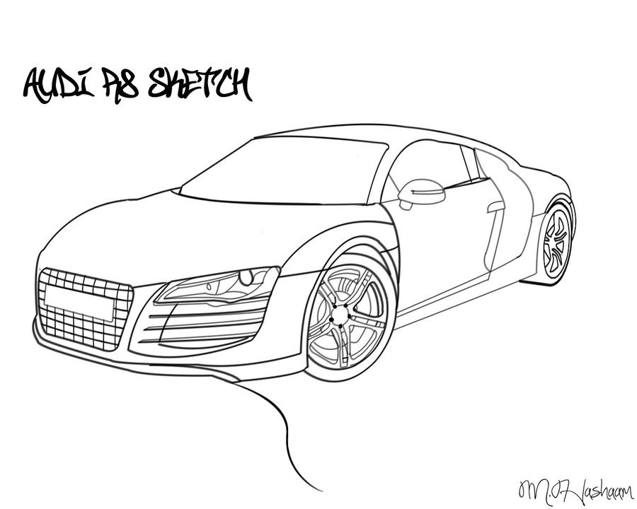 audi r8 drawing by tecartist on deviantart