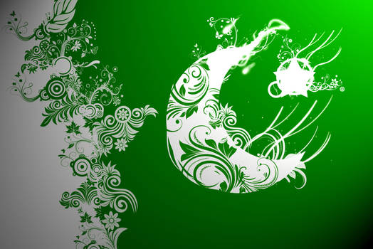 Pakistan Flag Floral Abstract