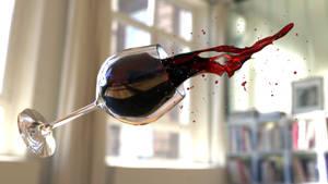 Falling glass of vine Render by TecArtist