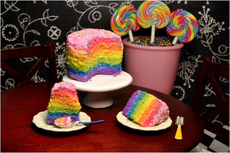 Double Rainbow Cake by rottingteeth