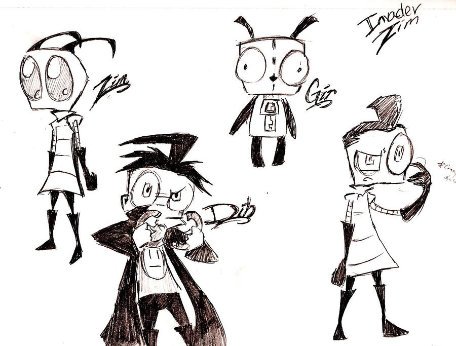 Line Art Bee : Invader zim characters by bee chan on deviantart