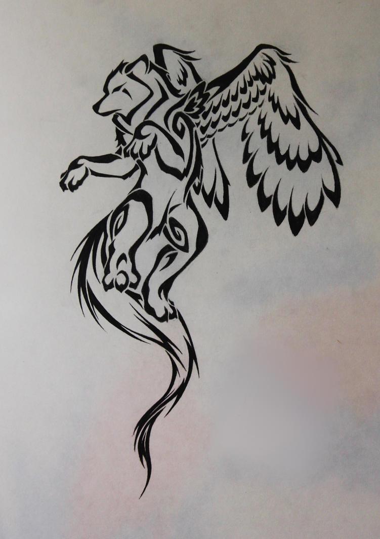 Tribal-winged wolf by CrimsonWolf2016 on DeviantArt
