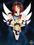 Sailor Starlights and Kakyuuhime by SugarStarlight