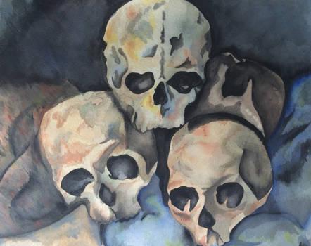 Pyramid of skulls - Cezanne [Watercolor]