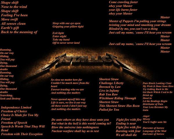 Metallica lyrics by Omega2092 on DeviantArt