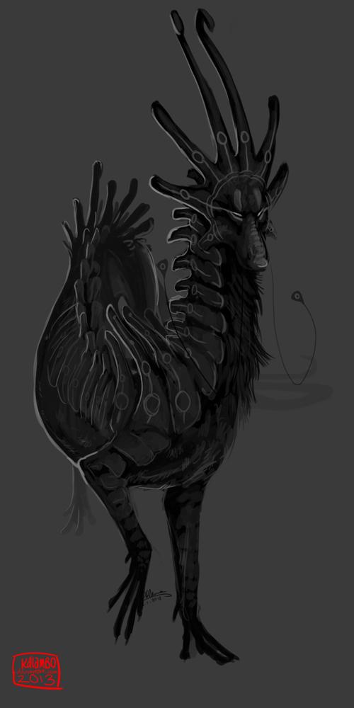 Greyscale Dragon Sketch by kalambo