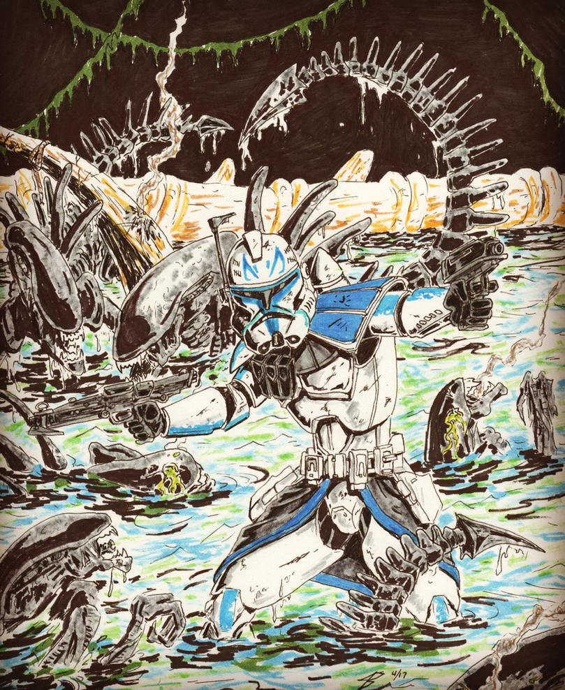 Captain Rex vs Aliens by coyote117