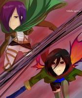 Crossover - Touka  and Mikasa by valentia-sparrow