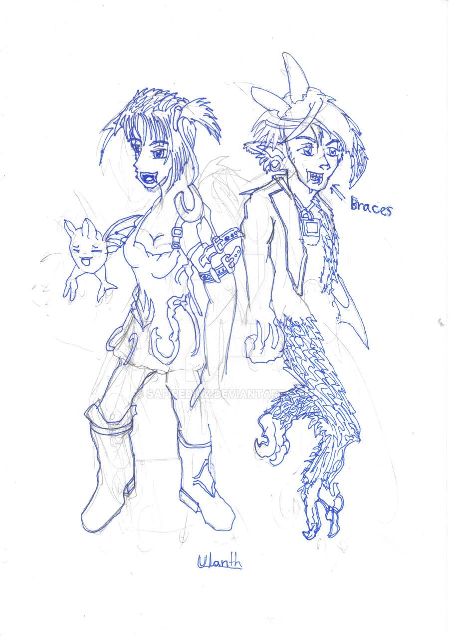 Ulanth and Kirazu by safirediaz