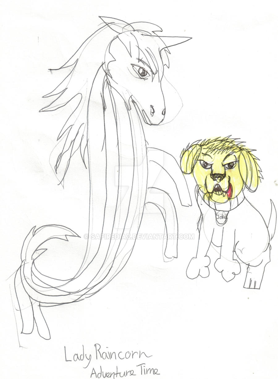 Lady Raincorn and Jake the Dog by safirediaz