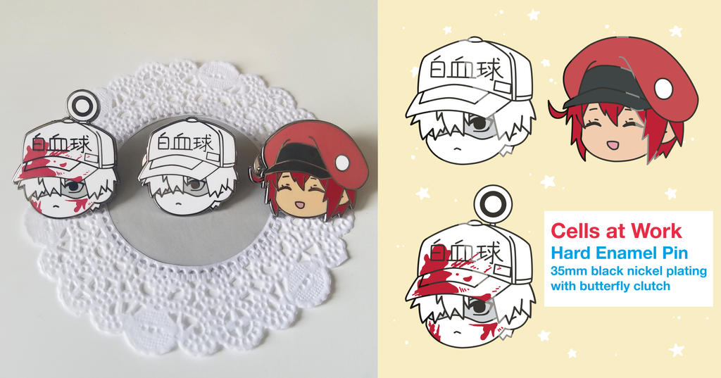 Cells At Work Hard Enamel Pin by KomorebiAmaya on DeviantArt