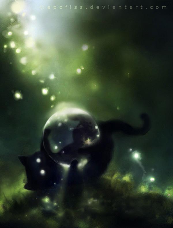 Рисунки с чёрными кошками