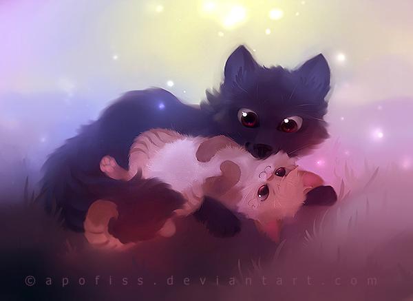 фото чёрных котят аниме #10