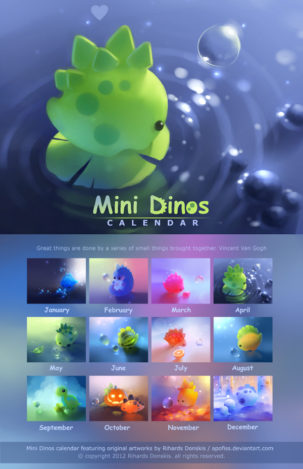 Calendar Live Wallpaper : Mini dinos calendar by apofiss on deviantart