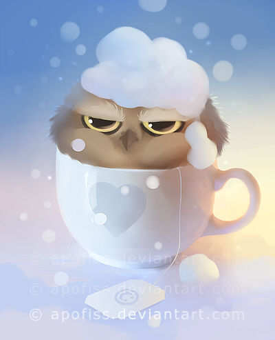 cup of owl by Apofiss