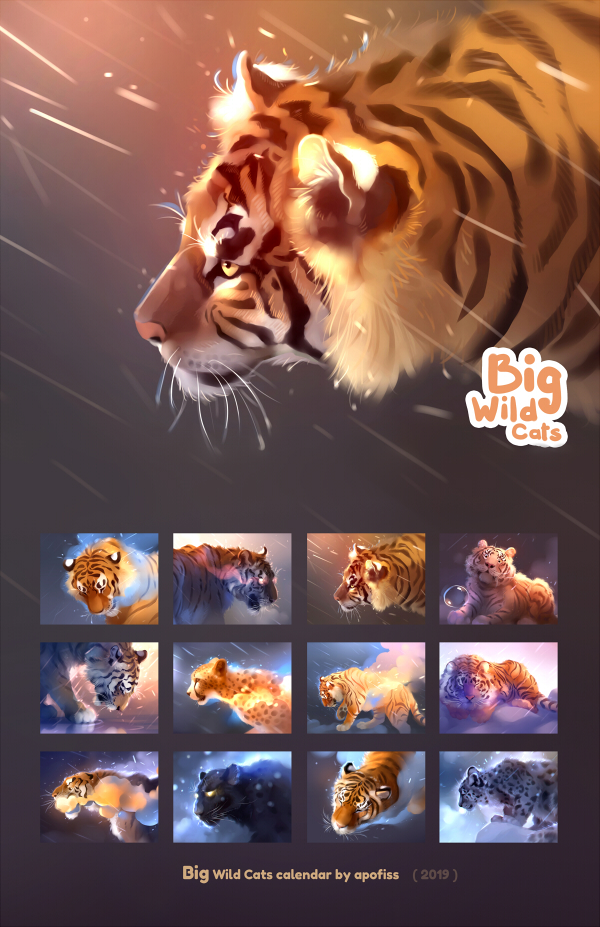 2019 calendar - Big Wild Cats by Apofiss