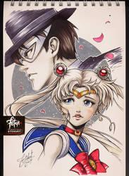 COPIC sketch 101_Sailor Moon and Tuxedo Mask