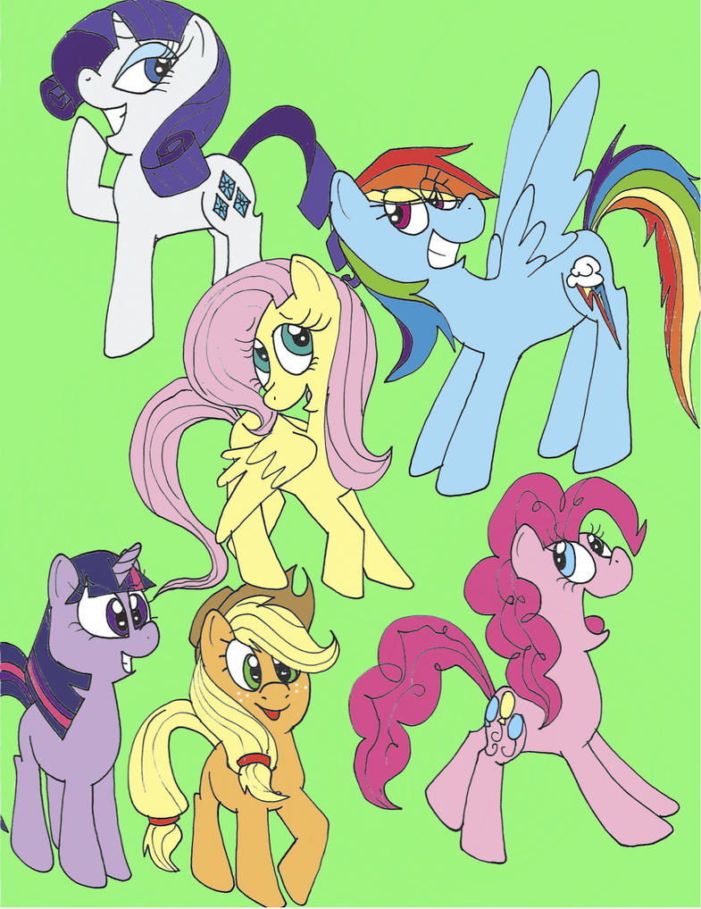 The Mane six by AgentBlackBlood