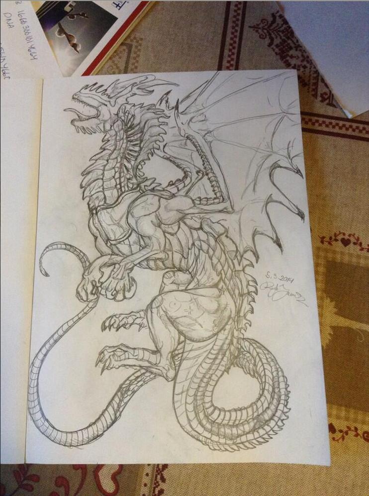 Sketchy rawr by Katkiz