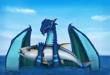 Tsunami  - Wings of Fire - A Gift Tuna by wolfzol