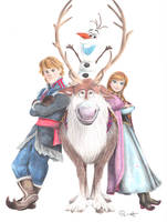 Kristoff, Anna, Olaf and Sven by one-film-one-drawing