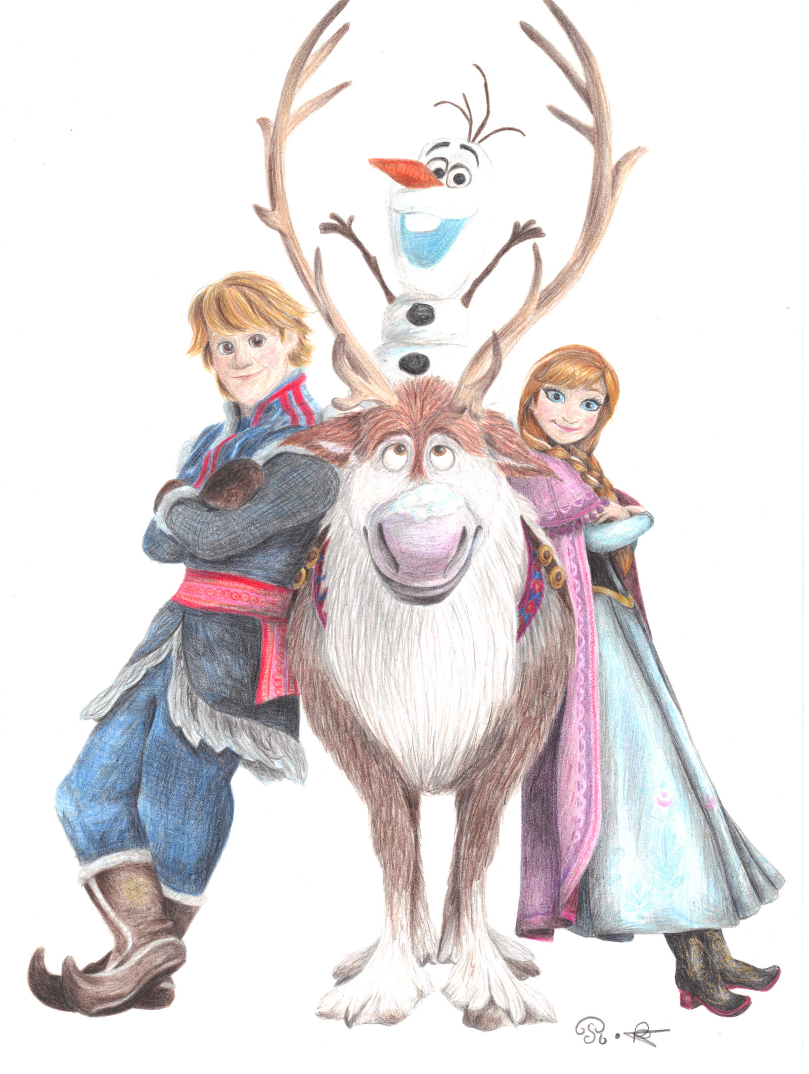 anna olaf and sven by one film one drawing