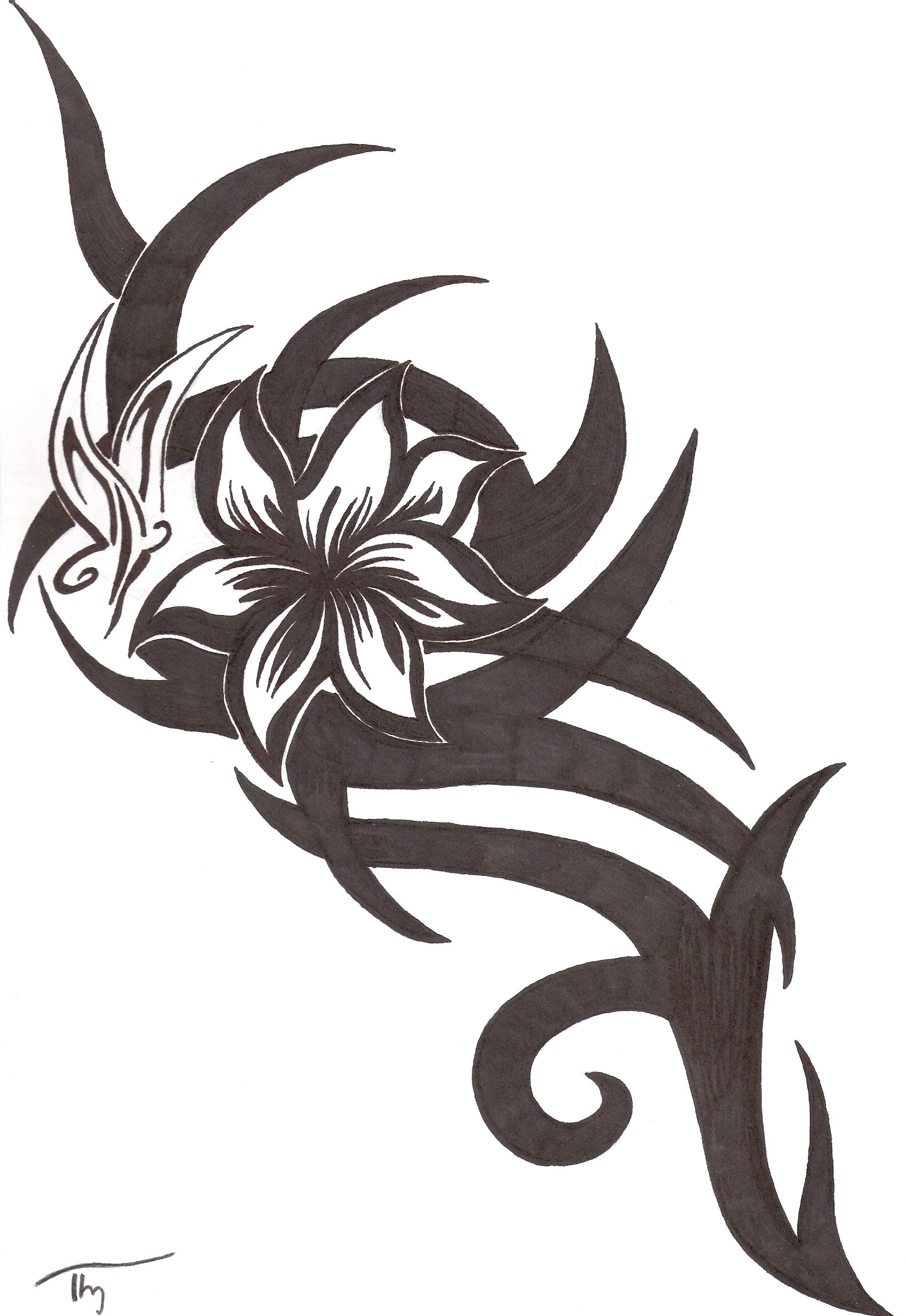 tribal flower butterfly tattoo by lechadias on deviantart. Black Bedroom Furniture Sets. Home Design Ideas