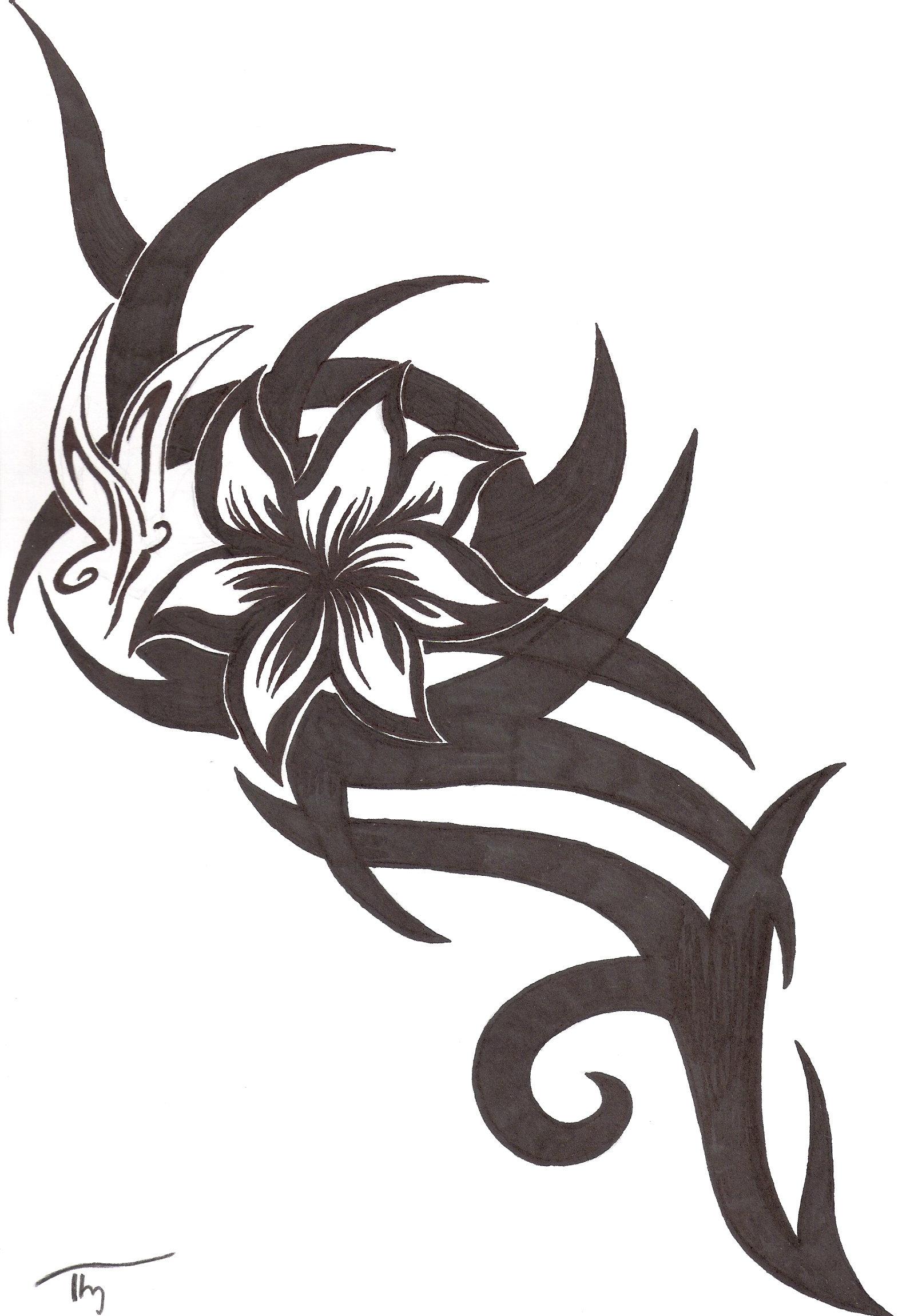 tribal flower butterfly tattoo by lechadias on deviantart. Black Bedroom Furniture Sets. Home Design Ideas
