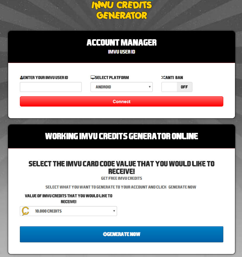 imvu credit generator no human verification 2017