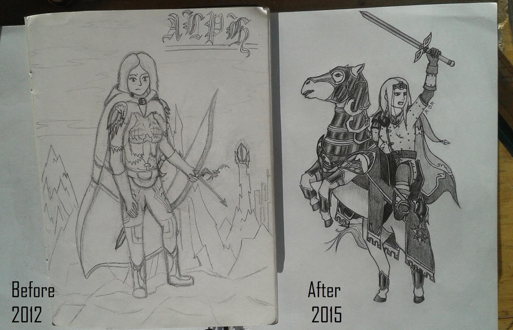 Alphodael before and After by Wolfwoman24