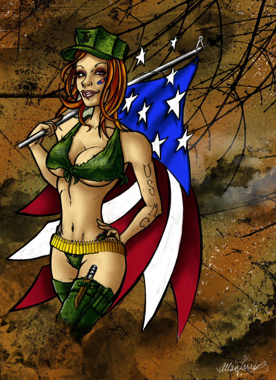 Marine Pin Up Girl Tattoos