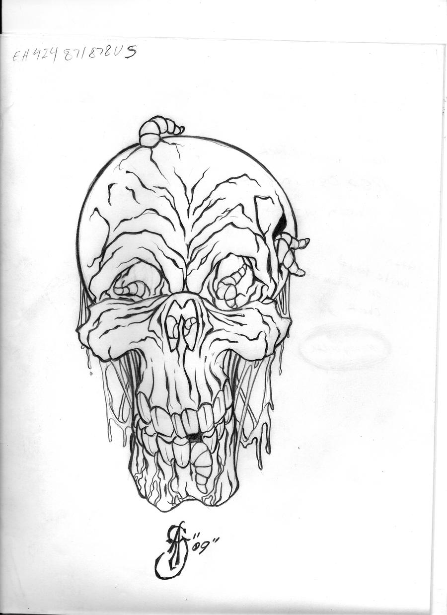 skull tattoo flash art